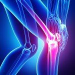 Human joint pain anatomy on blue